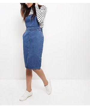 Blue Denim Midi Pinafore Dress | New Look                                                                                                                                                                                 More