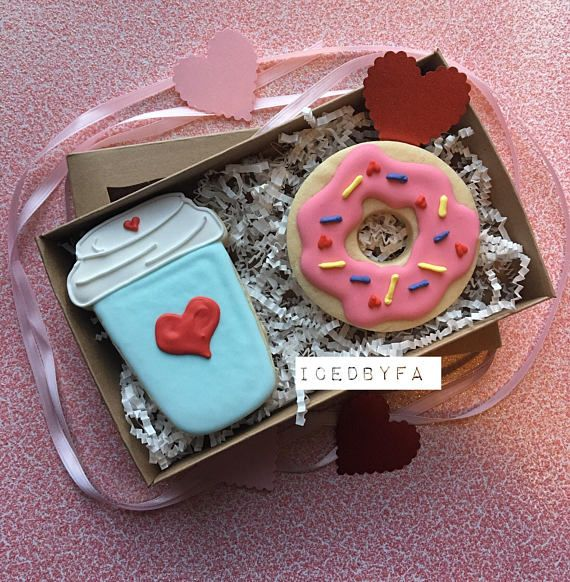 Coffee and Doughnut Valentines Cookies Sugar cookies