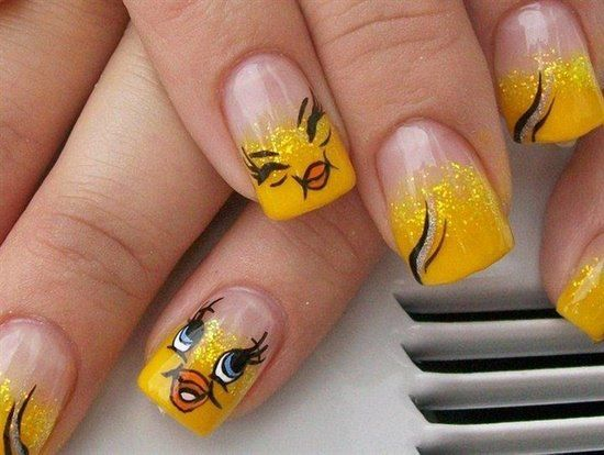 Tweety Bird Nail Art Design
