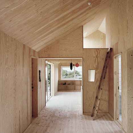 plywood walls and ceiling