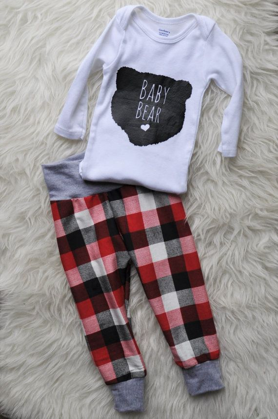 Lumberjack jogger Baby Joggers Plaid Pants Baby clothes Take Home Outfit Shower…