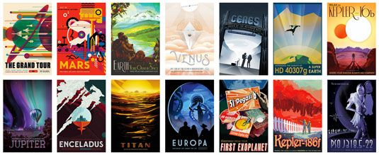 Stunning retro travel posters showcase the treasures of our solar system and beyond.