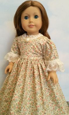 American Girl or 18 Inch Doll Historical 1700s Dress in Cream