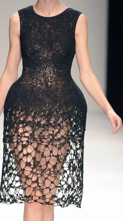 Soft lace-like knit surface, rigid sculptural structure; dress details, closeup fashion // John Rocha