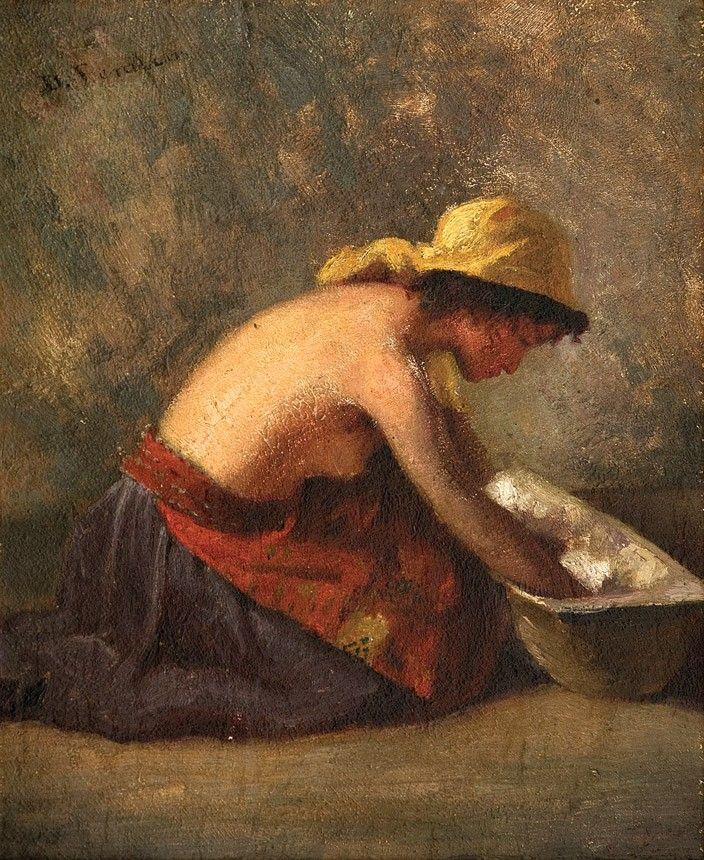 Dimitrie Serafim, Spălătoreasă - ulei pe carton, 24,5 × 20 cm, semnat stânga sus cu negru, D. Serafim