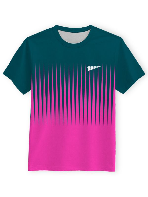 465c1f16 Green and pink printed sports t-shirt with round neck and short sleeves.  100% Polyester, Knitted, Sweat absorbing, Comfortable fabrics combined with  ...