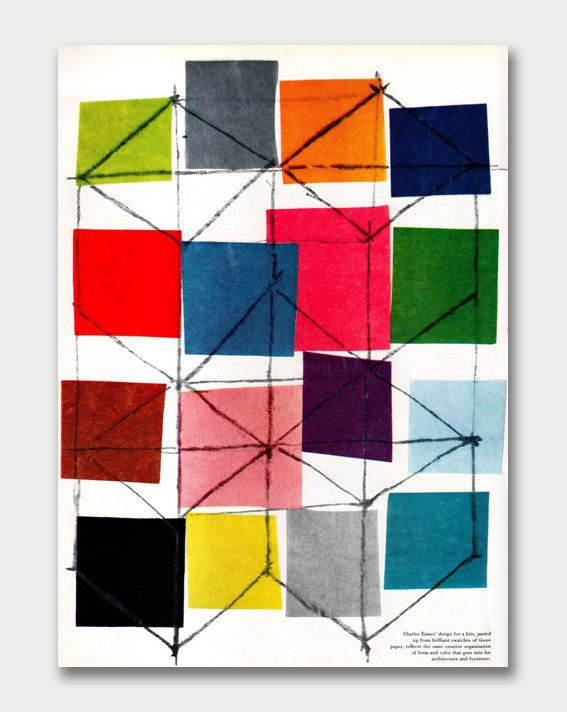 Portfolio Magazine (1949-1951) Volume 2 - Charles Eames design for a kite.Eames Kite, Inspiration, Colors, Charles Eames, Graphics Design, Beautiful Quilt, Pattern Art, Mixed Media Collage, Eames Design