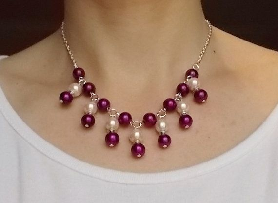 Hey, I found this really awesome Etsy listing at https://www.etsy.com/listing/193574072/ivory-and-purple-beaded-necklace
