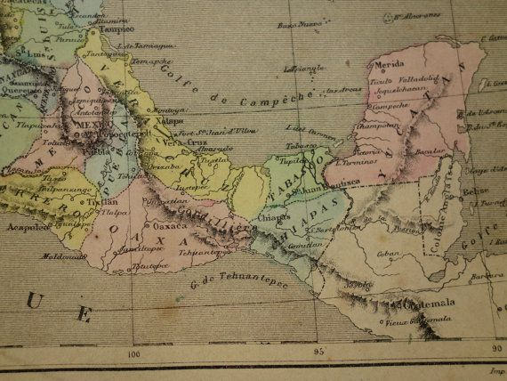 MEXICO antique map of Mexico 1878 original by VintageOldMaps