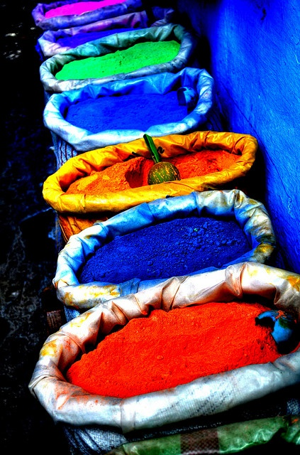 """""""Bags of Colour""""    Outside a shop in Chefchaouen, Morocco, coloured powders for painting."""