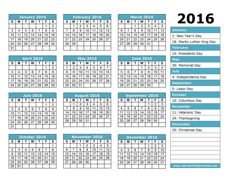 2016 Calendar with Holidays, free to download and print.