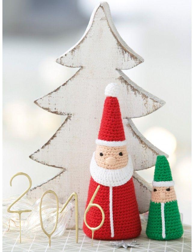 To sjarmerende julenisser, heklet. Fra Phildar, garnpakke med norsk oppskrift