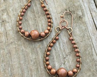 Copper earrings etched copper earrings nature jewelry