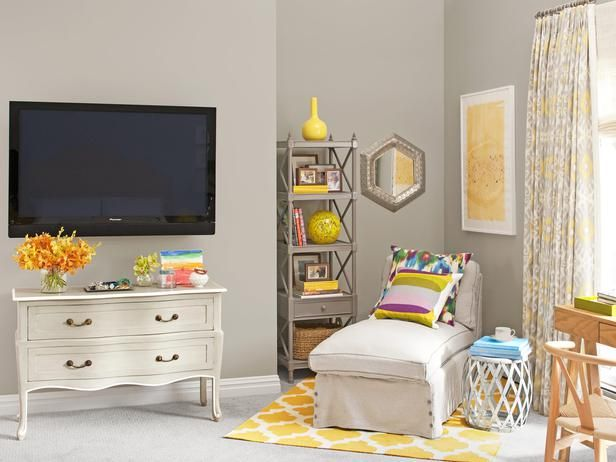Wake up your bedroom with yellows! #hgtvmagazine http://www.hgtv.com/bedrooms/wake-up-your-bedroom/pictures/page-11.html?soc=pinterestPop Of Colors, Grey Colors, Reading Corner, House