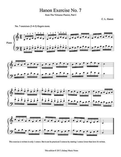 Hanon Exercise No 7 From The Virtuoso Pianist Part 1 Free