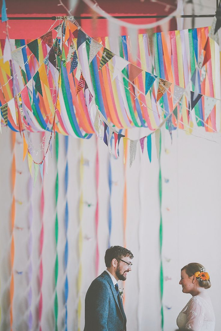 Rainbow Crepe Paper Ribbon Backdrop Bunting Crafty Colourful Village Hall Wedding http://jamesmelia.com/
