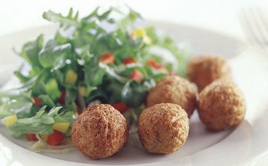 """Vegan Meatballs. Will try Italian bread crumbs instead of flour next time (I used buckwheat flour this time). Also added some cumin in the spices. Meatballs became soggy when soaked in pasta sauce. """"Vegan"""" meat sauce!"""
