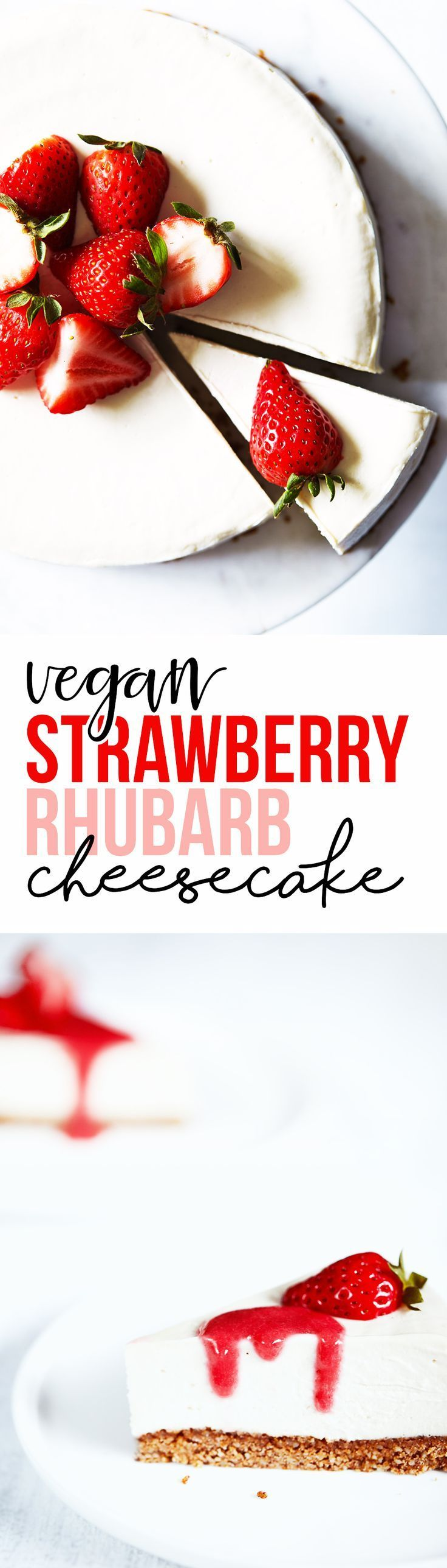 A creamy dairy-free cheesecake set atop a healthy, homemade graham cracker crust. Serve with strawberry rhubarb sauce and fresh berries. Tastes like the real deal! Refined sugar free. Vegan & Gluten Free.
