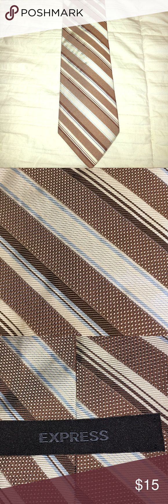 EXPRESS MEN striped tie Lightweight, striped tie in tan, white and light blue. Perfect addition to your spring tie collection Express Accessories Ties
