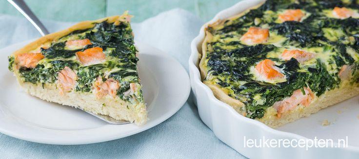Video: hartige taart met verse zalm en spinazie, lekker als lunch of als avondmaal