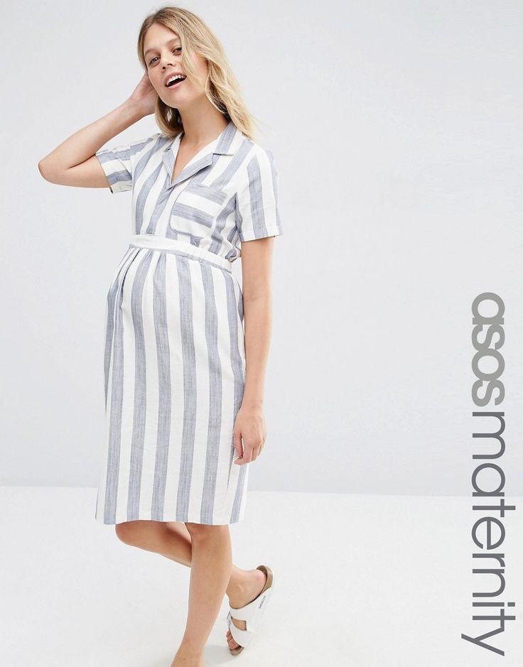 Image 1 ofASOS Maternity Shirt Dress In Linen Stripe