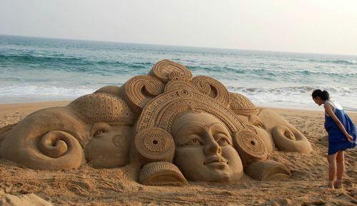 vacation travel photos - Sand Art, Puri, India: Sandsculptures, Sand Sculptures, Awesome, India, Art Sand Sculpture, Artist Sudarshan, Sand Art Sculptures
