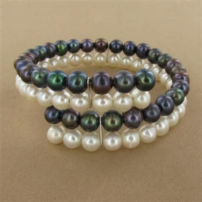 Sterling Silver Black & White Pearl Coil Bracelet (double strand memory wire using connectors to keep together in three places)