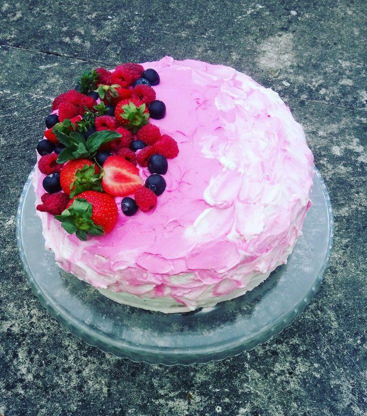 Fruit cake, mascarpone with cream ❤️❤️❤️