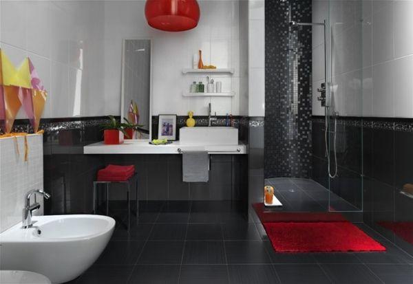 badezimmer gestaltung schwarz rot glas duschkabine mosaik