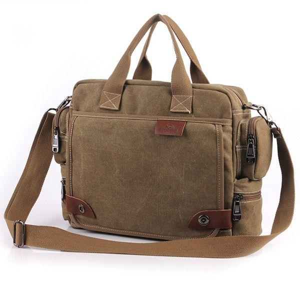 Mens Canvas Casual Shoulder Bags Crossbody Vintage Business Handbag - US$25.66