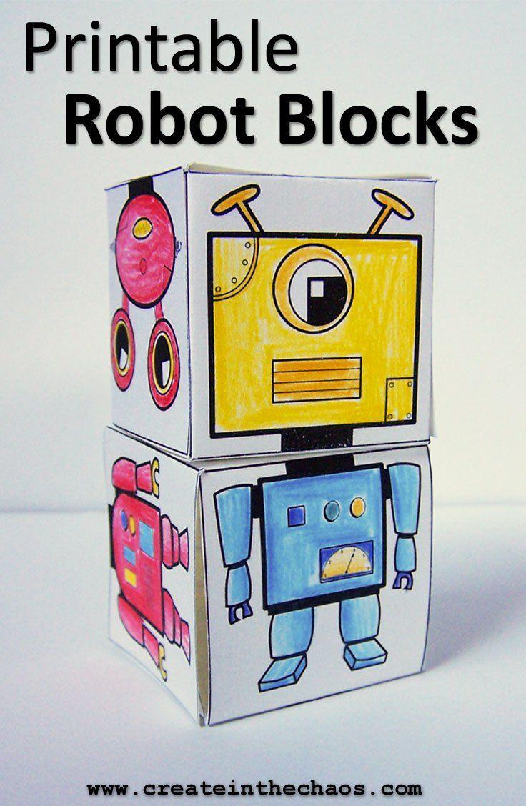 Printable robot blocks - a fun kids craft to color www.createinthechaos.com