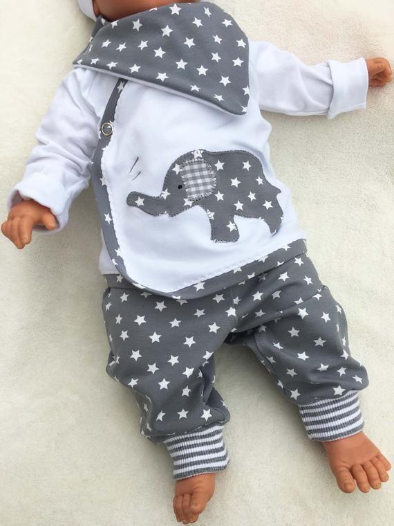 Baby set STERNCHENFANT wrap jacks & pants, set, baby, stars, light gray, wrap shirt, christening kit