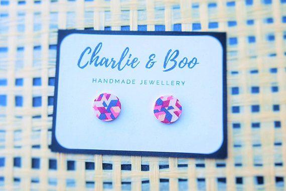 Stainless Steel 12mm Printed Wood Stud Earrings Geometric Stud Earrings Australian Handmade Small Business Charlie and Boo