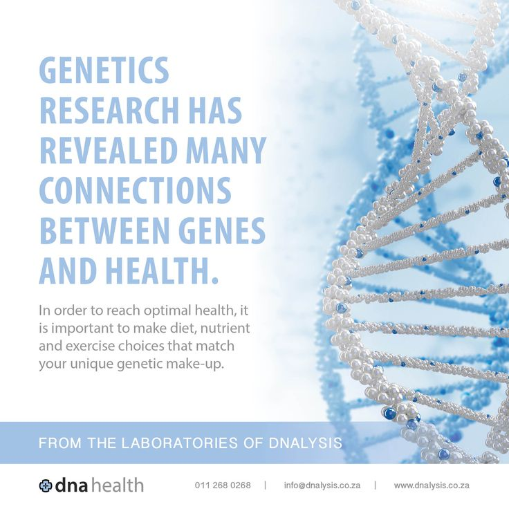 Genetics research has revealed many connections between genes and health. In order to reach optimal health, it is important to make diet, nutrient and exercise choices that match your unique genetic make-up.  #dnalysis #dnahealth