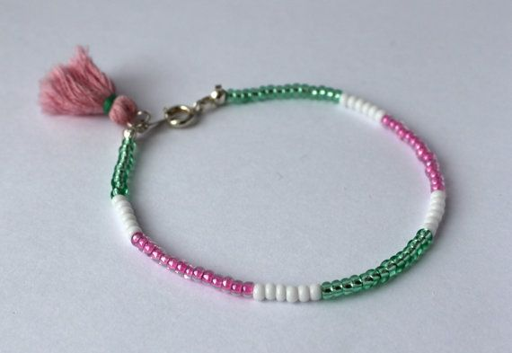 Seed Bead Bracelet-Bracelet with Meaning-Wire-Tassel-Growth-Purity-Joy-Light Green-White-Bright Pink