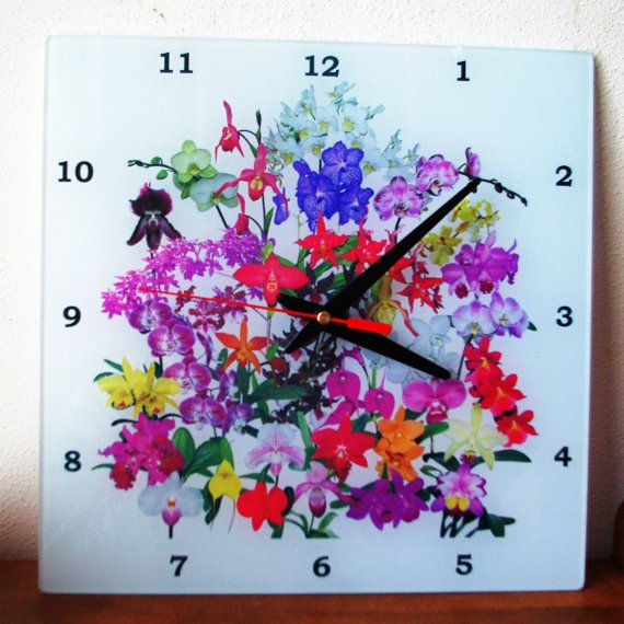 Orchids Glass Wall Clock with hanger 8x8 or by RVJamesDesigns