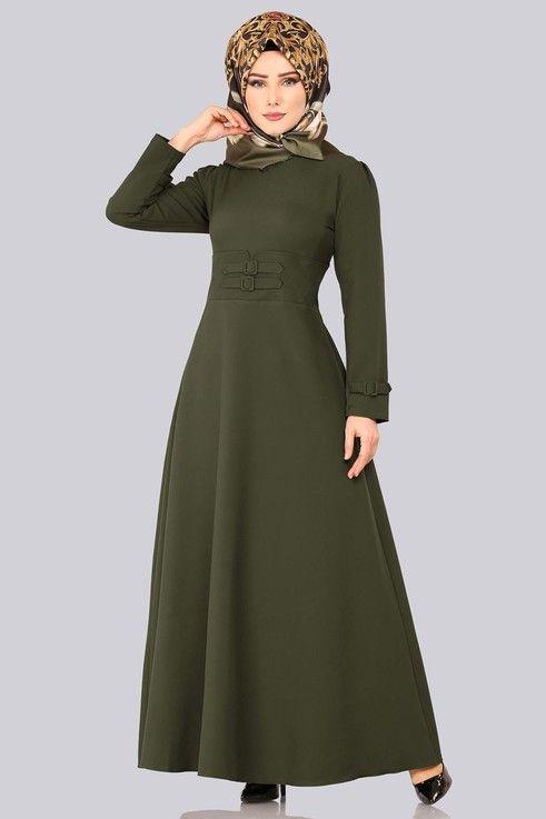 Modaselvim Elbise Aksesuar Kemerli Tesettur Elbise 1012bgs354 Haki Muslimah Dress Dresses High Neck Dress