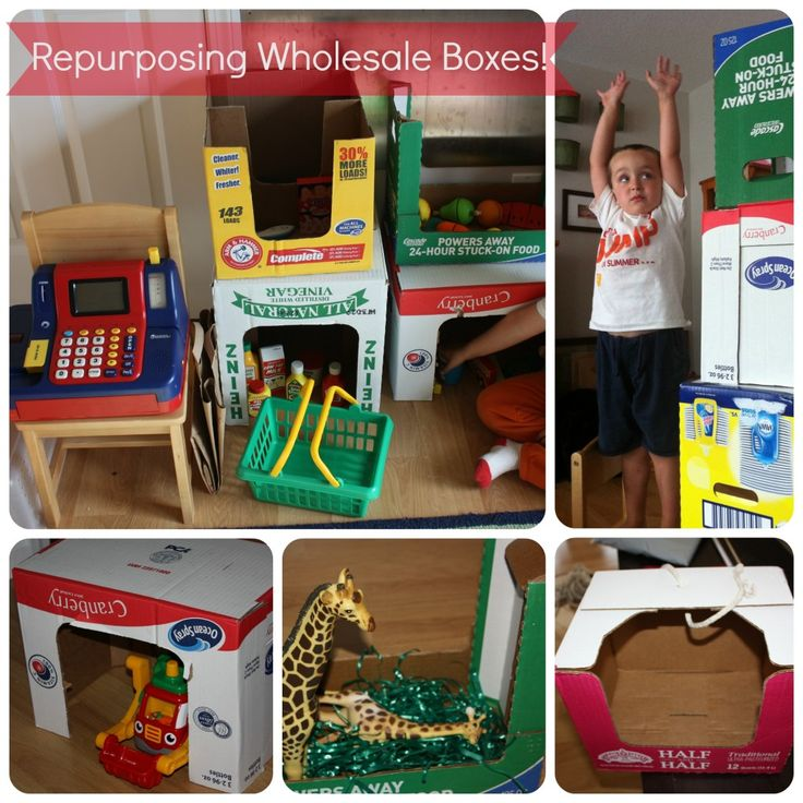 Repurpose wholesale food boxes or any boxes into creative play ideas for toddlers, preschool, kindergarten and grade school age kids. Great lesson for Earth Day on reuse, reduce, and recycle. Screen free activities.