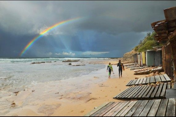Sandon Point double rainbow.  www.chilby.com.au