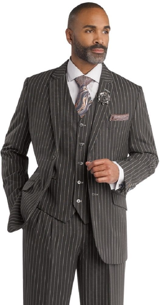 Holiday Mens Grey Pinstripe Gangster Business Dress Stripe Suit EJ Samuel M2668  #2Buttons