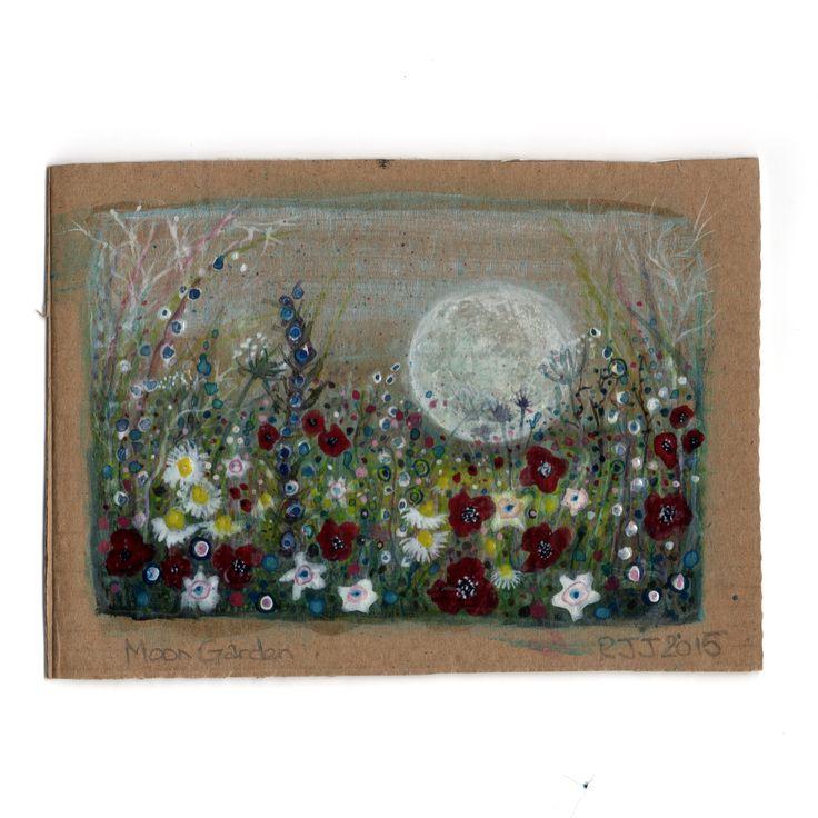Moon garden Postcard painted on cardboard. 2015 #racheljenkinson #moon #watercolour #flowers