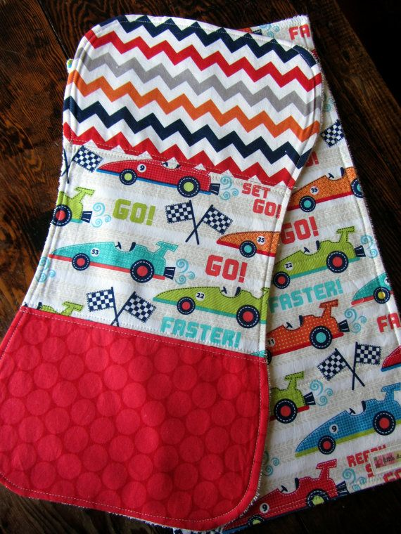 Set of 2 Burp Cloths Race Car Theme Designer Fabric - Baby Boy