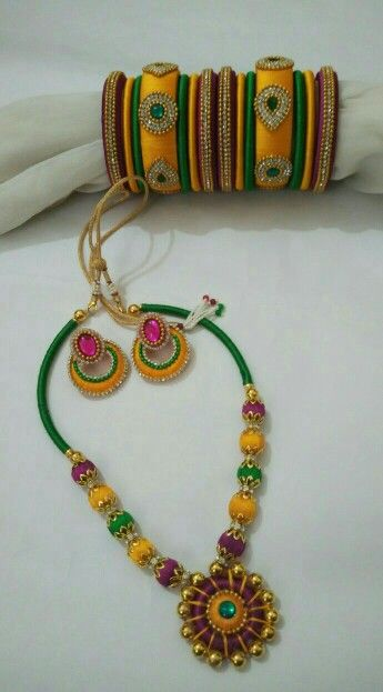 Silk thread bangles and set