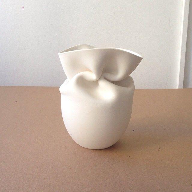 crumpled ceramic vase