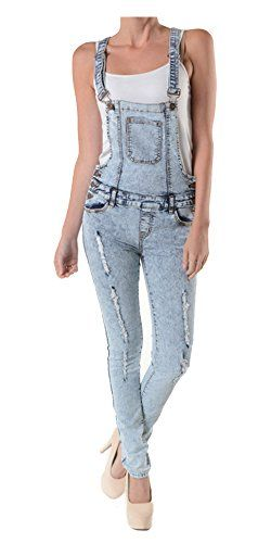 Tabeez Women's Cropped Skinny Jean Overalls (Extra Large, Acid Wash Light Blue). The official uniform for serene summer picnics and laid-back, country-chic style, this denim jumpsuit features rugged, threadbare holes and distressed, faded fabric-- both of which indicate a well-worn favorite. The bib-and-brace front along with the two carpenter pockets add an extra dose of utility flair, while the ankle-grazing length is ideal for showing off some awesome footwear. Made in the USA. Fabric…