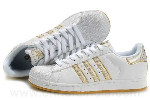 Adidas Blanche Et Doré
