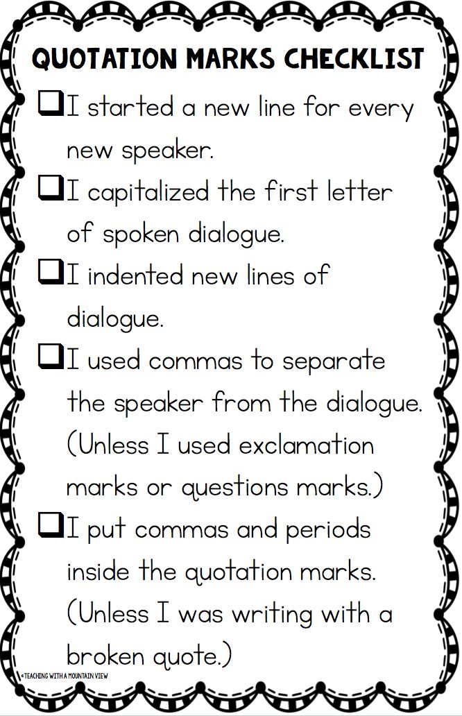 Teaching With a Mountain View: Teaching Quotation Marks and Dialogue