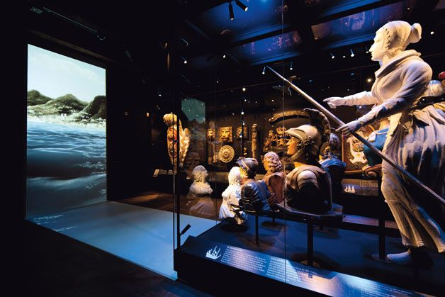 National Maritime Museum create a dark room explaining the night time temps put stars and animals in for interest--->tastfully! use this room to showcase a  movie