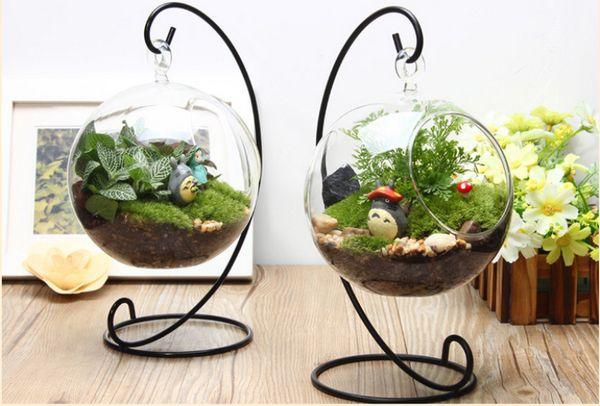 Микро Лоб пейзаж прозрачная стеклянная ваза вставки творческой форме сердца из кованого железа висит завод вешалка гидропонную блок
