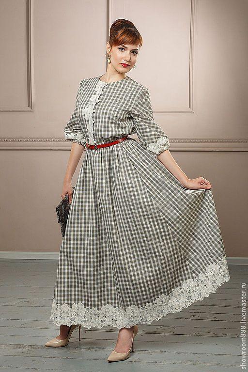 Купить Дорожное платье из хлопка в клетку - серебряный, в клеточку, стиль бохо, кантри стиль